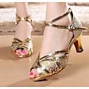 رخيصةأون طعم صيد الأسماك-للمرأة أحذية رقص المواد التركيبية كعب كعب سميك أحذية الرقص ذهبي