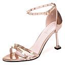 ieftine Sandale de Damă-Pentru femei PU Vară D'Orsay & Două Bucăți Sandale Toc Stilat Cataramă Auriu / Argintiu