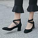 זול קבקבים לנשים-בגדי ריקוד נשים נעליים עור כבשים אביב / סתיו בלרינה בייסיק עקבים עקב עבה בוהן מרובעת שחור / שקד