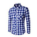 hesapli Erkek Gömlekleri-Erkek Gömlek Kareli İş Çalışma Siyah / Uzun Kollu