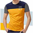 cheap Women's Oxfords-Men's Plus Size Cotton T-shirt - Striped Round Neck / Short Sleeve