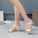 cheap Women's Sandals-Women's Shoes PU(Polyurethane) Summer Basic Pump Sandals Stiletto Heel Open Toe White / Beige / Pink