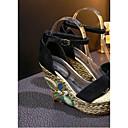povoljno Ženske cipele bez vezica-Žene Cipele Brušena koža Proljeće ljeto Udobne cipele Sandale Wedge Heel Crn / Zelen