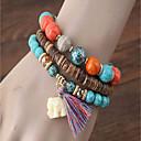cheap Bracelets-3pcs Women's Turquoise Bead Bracelet Bracelet Layered Vintage Style Stacking Stackable Elephant Creative Ladies Bohemian Casual / Sporty Fashion Wooden Bracelet Jewelry Black / Rainbow / Red For
