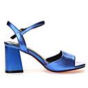 זול נעלי עקב לנשים-בגדי ריקוד נשים נעליים עור קיץ בלרינה בייסיק סנדלים עקב עבה פתוח בבוהן שחור / כחול / חום בהיר