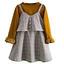 ieftine Seturi Îmbrăcăminte Fete-Copil Fete De Bază Dungi Manșon Lung Poliester Set Îmbrăcăminte Gri 100