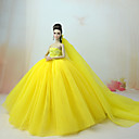 cheap Dolls Accessories-Dresses Dress For Barbie Doll Yellow Tulle / Lace / Silk / Cotton Blend Dress For Girl's Doll Toy