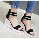 povoljno Ženske cipele s petom-Žene Cipele PU Ljeto Udobne cipele / Obične salonke Sandale Wedge Heel Crn / Zelen / Pink