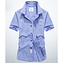 cheap Flashlights & Camping Lanterns-Men's Basic Cotton Shirt - Solid Colored / Short Sleeve