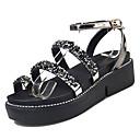 ieftine Sandale de Damă-Pentru femei PU Vară Confortabili Sandale Creepers Vârf rotund Negru / Argintiu