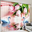 tanie Zasłony okienne-Zasłony 3D Sypialnia Geometric Shape Poliester Drukowane / Zaciemnienie