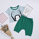 ieftine Set Îmbrăcăminte Bebeluși-Bebelus Fete Activ / Șic Stradă Concediu Dungi Imprimeu Manșon scurt Scurt Bumbac Set Îmbrăcăminte / Copil