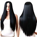 billige Kostymeparykk-Syntetiske parykker Rett Midtdel Syntetisk hår Justerbar / Varme resistent / syntetisk Svart Parykk Dame Lang Lokkløs Svart / Ja