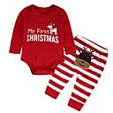 ieftine Set Îmbrăcăminte Băieți Bebeluși-Bebelus Băieți De Bază Crăciun / Zilnic / Concediu Imprimeu / Peteci Manșon Lung Regular Bumbac Set Îmbrăcăminte Roșu-aprins 100