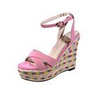 povoljno Ženske sandale-Žene Cipele Ovčja koža Ljeto Udobne cipele Sandale Wedge Heel Crn / Pink