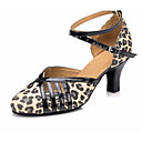 cheap Modern Shoes-Women's Modern Shoes Cowhide Heel Thick Heel Dance Shoes Leopard