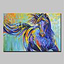 hesapli Hayvan Resimleri-Hang-Boyalı Yağlıboya Resim El-Boyalı - Karton Pop Art Modern Iç çerçeve dahil / Gerilmiş kanvas