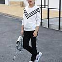 זול סטים של ביגוד לבנות-בנות פעיל / סגנון רחוב מכנסיים - פסים דפוס לבן / ליציאה