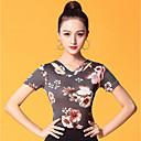 baratos Roupas de Dança de Salão-Dança de Salão Blusas Mulheres Espetáculo Seda Sintética Estampa / Franzido Manga Curta Blusa