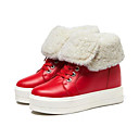 cheap Women's Boots-Women's Suede / Nappa Leather Spring / Fall Comfort Sneakers Creepers Round Toe Black / Beige / Red