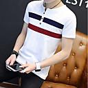 cheap Totes-Men's Plus Size Cotton T-shirt - Striped Round Neck / Short Sleeve