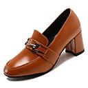 cheap Women's Heels-Women's PU(Polyurethane) Fall Basic Pump Heels Chunky Heel Square Toe Black / Dark Brown