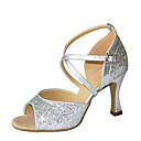 povoljno Cipele za latino plesove-Žene Plesne cipele Saten Cipele za latino plesove Sandale / Štikle Deblja visoka potpetica Moguće personalizirati Zlato / Srebro / Seksi blagdanski kostimi / Vježbanje