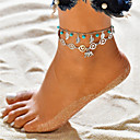 cheap Anklet-Turquoise Layered Yoga Anklet Ankle Bracelet - Elephant, Leaf Dangling Style, Tassel, Bohemian Silver For Holiday Going out Women's