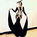 povoljno Egzotična plesna odjeća-Egzotična plesna odjeća Kombinezoni za izlaske / Klubska nošnja Žene Seksi blagdanski kostimi Spandex Kombinacija materijala / Kristali / Rhinestones Dugih rukava Prirodno Hula-hopke / Onesie