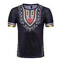 abordables Ecouteurs & Casques Audio-Tee-shirt Homme, Géométrique - Coton Actif / Chic de Rue Col Arrondi Mince Rouge L / Manches Courtes