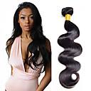 olcso Természetes színű póthajak-1 csomagot Indiai haj Hullámos haj / Klasszikus Emberi haj Az emberi haj sző 10-20 hüvelyk Emberi haj sző Human Hair Extensions Női