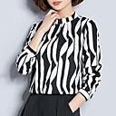 זול צמיד אופנתי-גיאומטרי / קולור בלוק צווארון V רזה סגנון רחוב ליציאה חולצה - בגדי ריקוד נשים דפוס / משי