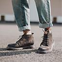 abordables Joyería para Hombre-Hombre Fashion Boots Cuero Otoño / Invierno Vintage Botas Usar prueba Mitad de Gemelo Gradient Gris / Marrón
