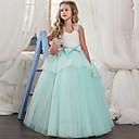 رخيصةأون Lolita فساتين-فستان طويل للأرض بدون كم دانتيل / شبكة ألوان متناوبة مناسب للعطلات / مناسب للخارج حلو / راقي للفتيات أطفال / قطن