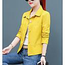 hesapli dudak parlatıcısı-Kadın's Günlük Askeri Kısa Kurtki skórzane, Solid Gömlek Yaka Uzun Kollu PU YAKUT / Doğal Pembe / Sarı L / XL / XXL