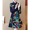 hesapli Takma Kirpikler-Kadın's Çin Stili Pantolon - Çiçekli Desen YAKUT / Mini / Dik Yaka / Dışarı Çıkma