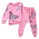 cheap Girls' Clothing Sets-Kids Girls' Active / Street chic Daily / Sports Butterfly Print Print Long Sleeve Cotton / Polyester Clothing Set Pink 7-8 Years(140cm)