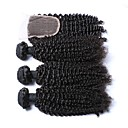cheap Concealers & Contours-3 Bundles with Closure Indian Hair Kinky Curly 100% Remy Hair Weave Bundles Hair Weft with Closure 18 inch Natural Human Hair Weaves Comfortable Human Hair Extensions Women's