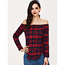 cheap Cell Phone Cases & Screen Protectors-Women's Holiday / Going out Street chic Cotton Shirt - Plaid Off Shoulder / Spring / Summer