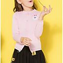 abordables Muñecas-Niños Chica Básico Un Color Manga Larga Regular Algodón Jersey y Cardigan Rosa