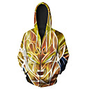 cheap Anime Action Figures-Men's Long Sleeve Hoodie - Rainbow Hooded Yellow 4XL
