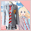 cheap Anime Costumes-Inspired by Your Lie in April Cookie Anime Anime Cosplay Costumes Cosplay Suits Anime Long Sleeve Skirts / Blouse / Top For Women's