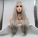 cheap Synthetic Lace Wigs-Synthetic Lace Front Wig Straight Layered Haircut 130% Density Synthetic Hair 26 inch Women / Youth Dark Gray Wig Women's Mid Length Lace Front Grey / Yes
