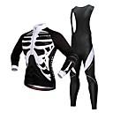 cheap Cycling Jersey & Shorts / Pants Sets-WOSAWE Men's Long Sleeve Cycling Jersey with Bib Tights - Black Bike Jersey, 3D Pad, Reflective Strips, Winter, Polyester, Fleece Skeleton / Stretchy