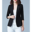 cheap Totes-Women's Going out Regular Blazer, Solid Colored Peter Pan Collar 3/4 Length Sleeve Polyester Black / Pink / Fuchsia XXXL / 4XL / XXXXXL