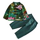 ieftine Seturi Îmbrăcăminte Băieți-Copii Băieți De Bază / Chinoiserie Floral Manșon Lung Bumbac Set Îmbrăcăminte Trifoi 130