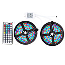 cheap LED Strip Lights-ZDM 10M(2*5M) Waterproof 2835 RGB 48W 600 LEDs Strip Flexible Light LED with 44Key IR Remote Controller Kit and 1BIN2 Connecting line(DC12V)