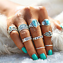 cheap Rings-Couple's Turquoise Retro Hollow Out Ring Nail Finger Ring Midi Ring - Alloy Leaf, Heart, Flower Statement, Bohemian, Punk Silver For Evening Party Carnival / 10pcs