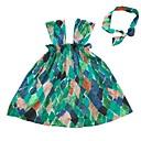 tanie Sukienki dla niemowląt-Dziecko Dla dziewczynek Aktywny Geometric Shape / Kolorowy blok Nadruk Krótki rękaw Nad kolano Bawełna Sukienka / Brzdąc