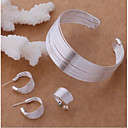 cheap Eyeshadows-Women's Layered Stylish Jewelry Set S925 Sterling Silver Creative Ladies, Stylish, Unique Design, Elegant Include Cuff Bracelet Hoop Earrings Open Ring Silver For Party Festival